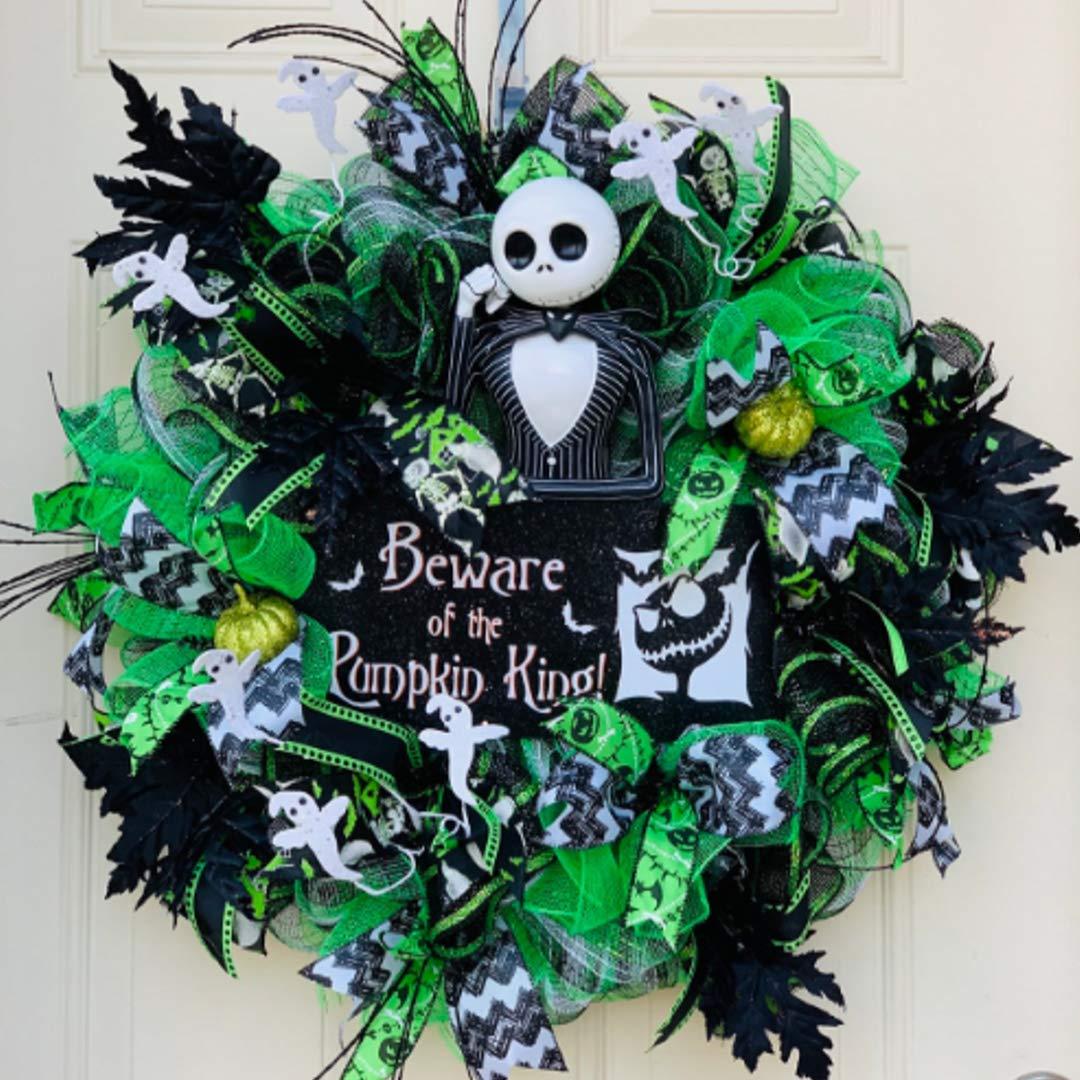 Deco Mesh Wreath Porch Decor Halloween Wreath Door Wreath Halloween Door Wreath Front Door Wreath Large Bow Wreath Smaller Wreath