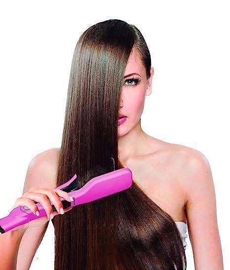 JOCCA Cepillo de pelo alisado de Peine Plancha de pelo doble placa, rosa vapor