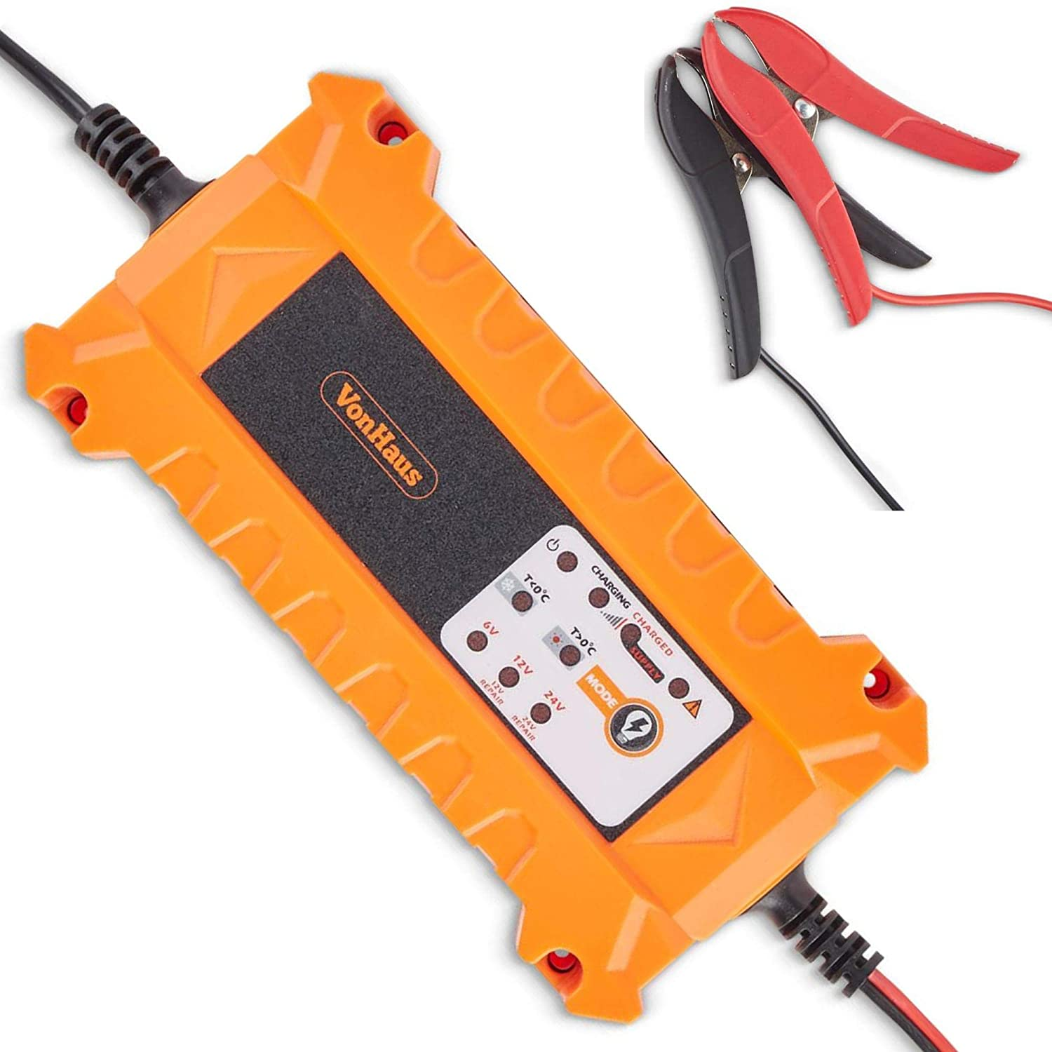 VonHaus Automatic Car Battery Charger 7A with Advanced Vehicle Battery Diagnosis, Charge & Recovery/Reconditioning for use on 6V, 12V and 24V Batteries
