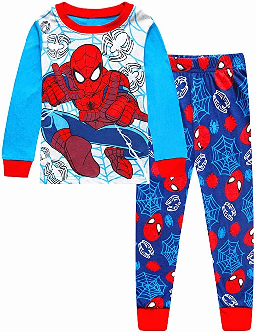 N'aix Spiderman Children's Pajamas Set 2-7T PJS Cotton Sleepwear Little Boys Kids Pajamas