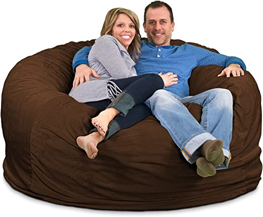 ULTIMATE SACK Bean Bag Chairs in Multiple Sizes and Colors Giant Foam-Filled Furniture – Machine Washable Covers, Double Stitched Seams, Durable Inner Liner. 6000, Brown Suede