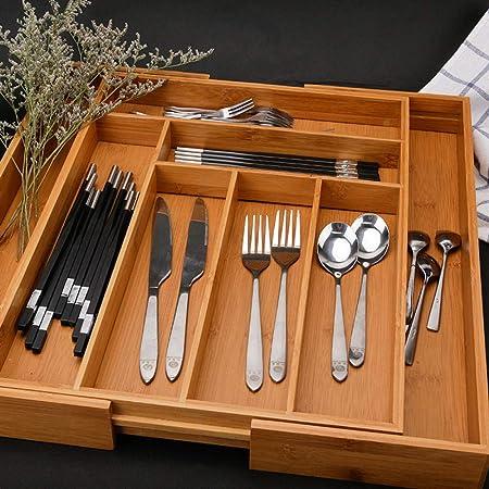 Alvar - Caja de madera para cubiertos y cuchillos, organizador telescópico A: Amazon.es: Hogar