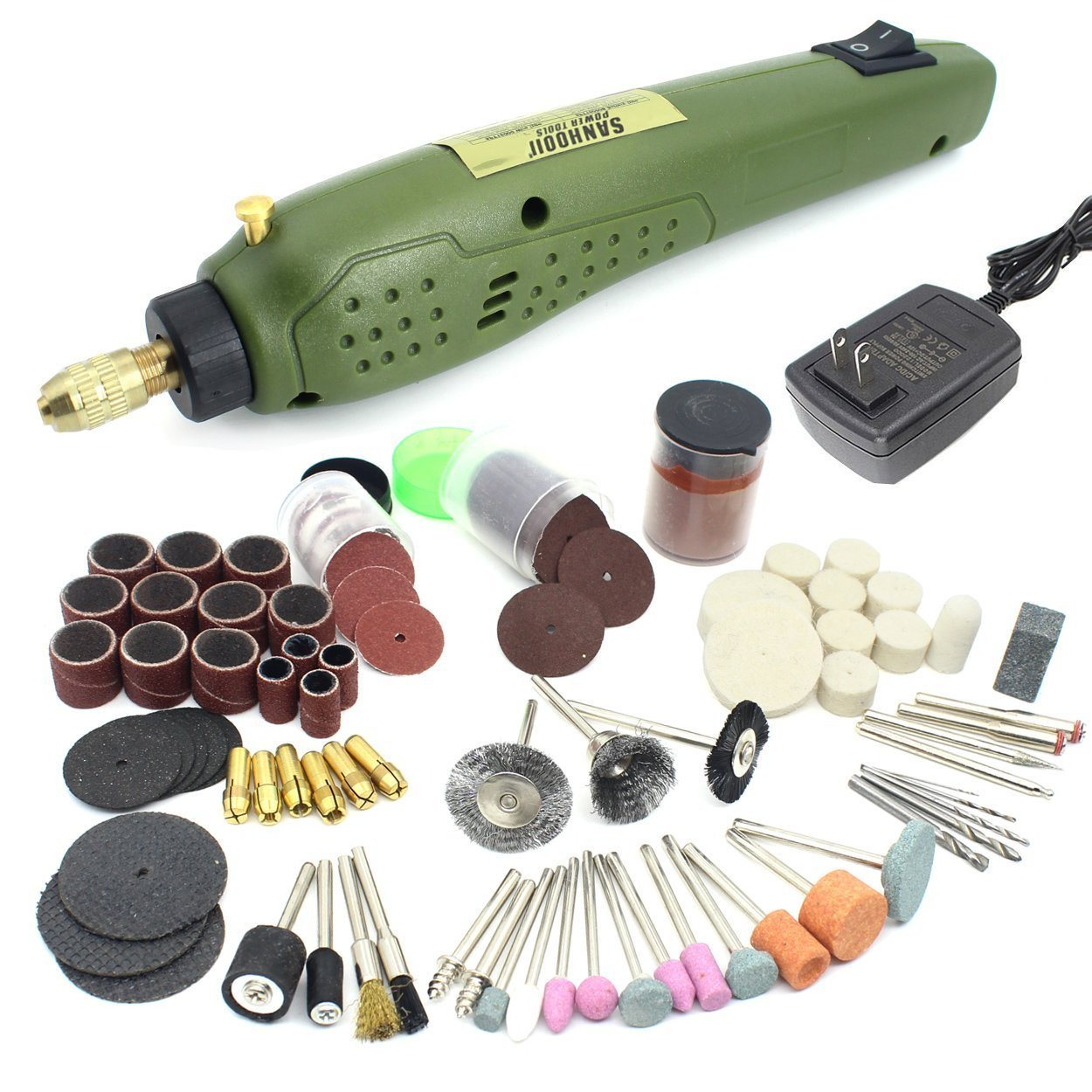 Sanhooii Mini Rotary Tool Kit With 115pcs Accessories Set For Wood Jewel Stone Small Crafts Cutting Drilling Grinding Engraving