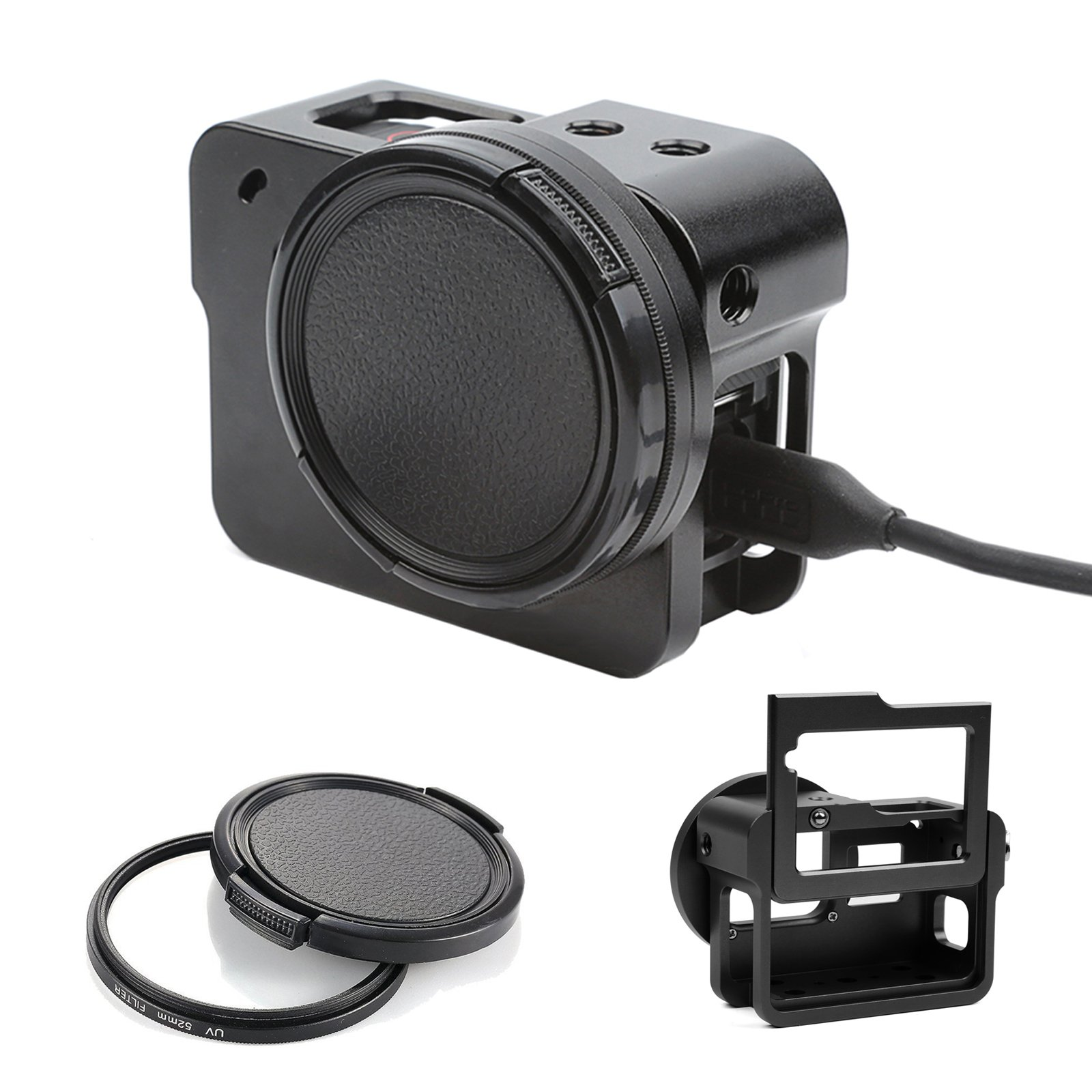 D&F Aluminum Alloy Protective Housing Case with Protective UV Lens & Backdoor for GoPro Hero 6