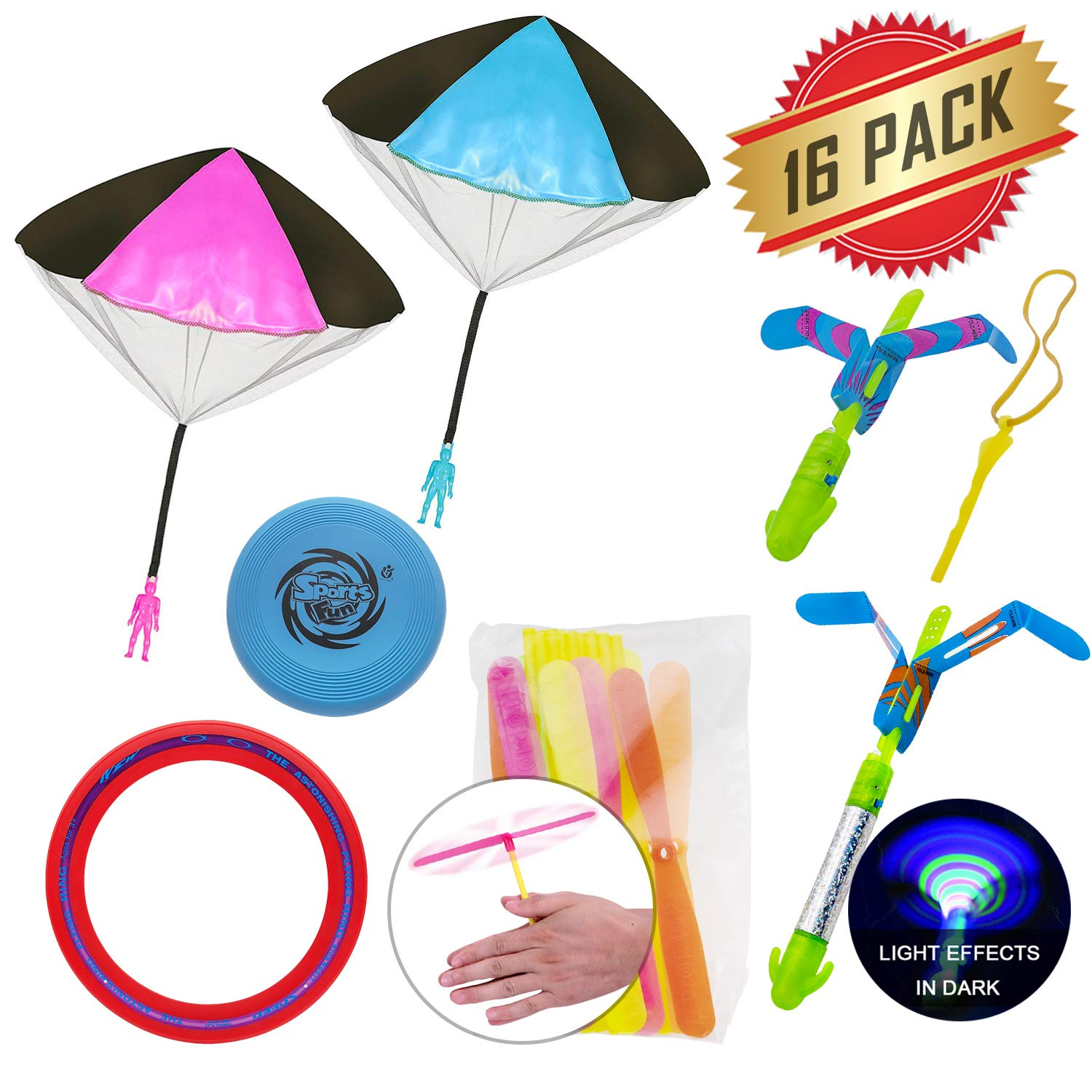 ELifeBox 16 PACK Out Door Catapult, Throwing, Fun, Challenging, Sports Toy Set - Rocket Copters, Flying Disc Ring, Frisbee Disc, Plastic Dragonfly, Throwing Parachute Men Toy