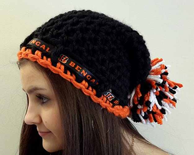 70aac867 Amazon.com: crochet Bengals inspired hat. with pom pom. Made by Bead ...