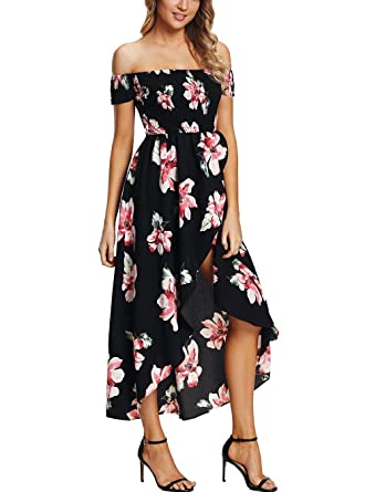 b9f78e26e80ce PYL Women s Floral Chiffon Smocked Short Sleeve Off The Shoulder High Low  Dress