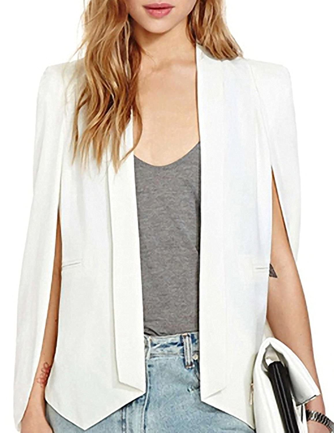 Hao Duo Yi Womens Cape Sim Fit Split Bussiness Blazer Jacket by Hao Duo Yi