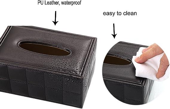 iSuperb Porta Fazzoletti Multifunzione Organizer da Scrivania in Pelle Tissue Box Holder per Ufficio e Casa 20.5x17.5x9.5 cm Nero