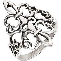 CloseoutWarehouse Sterling Silver Noble Fleur De Lis Ring (Sizes 4-15)