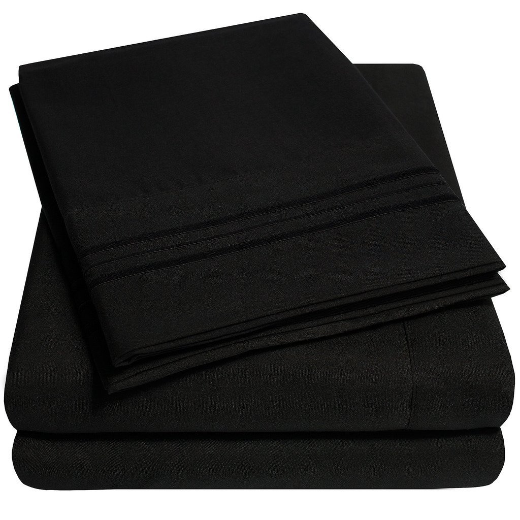 1500 Supreme Collection Extra Soft Full Sheets Set, Black - Luxury Bed Sheets Set