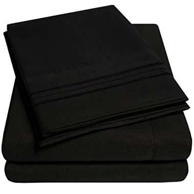 1500 Supreme Collection Extra Soft California King Sheets Set, Black - Luxury Bed Sheets Set With Deep Pocket Wrinkle Free Hypoallergenic Bedding, Over 40 Colors, California King Size, Black