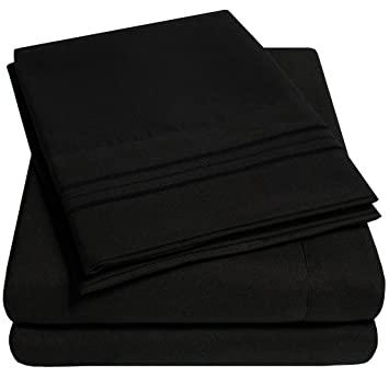 supreme collection extra soft california king sheets set black luxury bed sheets set