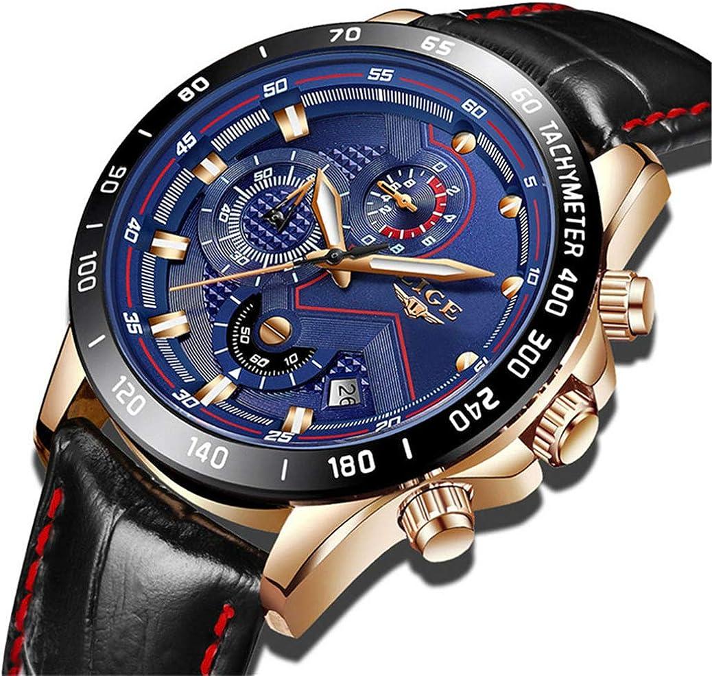 LIGE Reloj Deportivo Impermeable para Hombre Reloj Marca Cronógrafo de Cuero de Moda Azul Militar Fecha Reloj Hombre