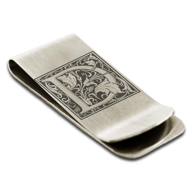 Stainless Steel Letter D Initial Floral Monogram Engraved Money Clip Credit Card Holder Tioneer M001D-ESM004