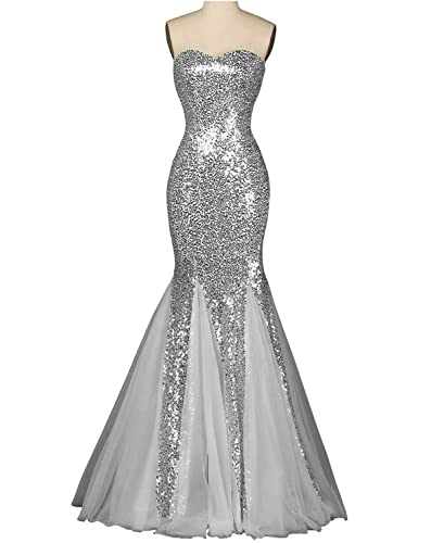 OYISHA Womens Sweetheart Mermaid Prom Dresses Sequined Formal Evening Gown SQ38