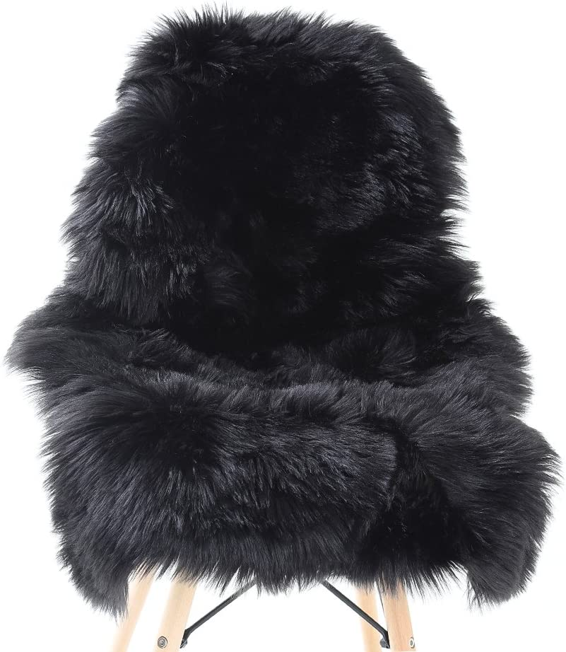 YJ.GWL Soft Black Fluffy Faux Fur Sheepskin Area Rug for Bedroom Sofa Cover Seat Living Room Shaggy Bedside Rugs 2' x 3'