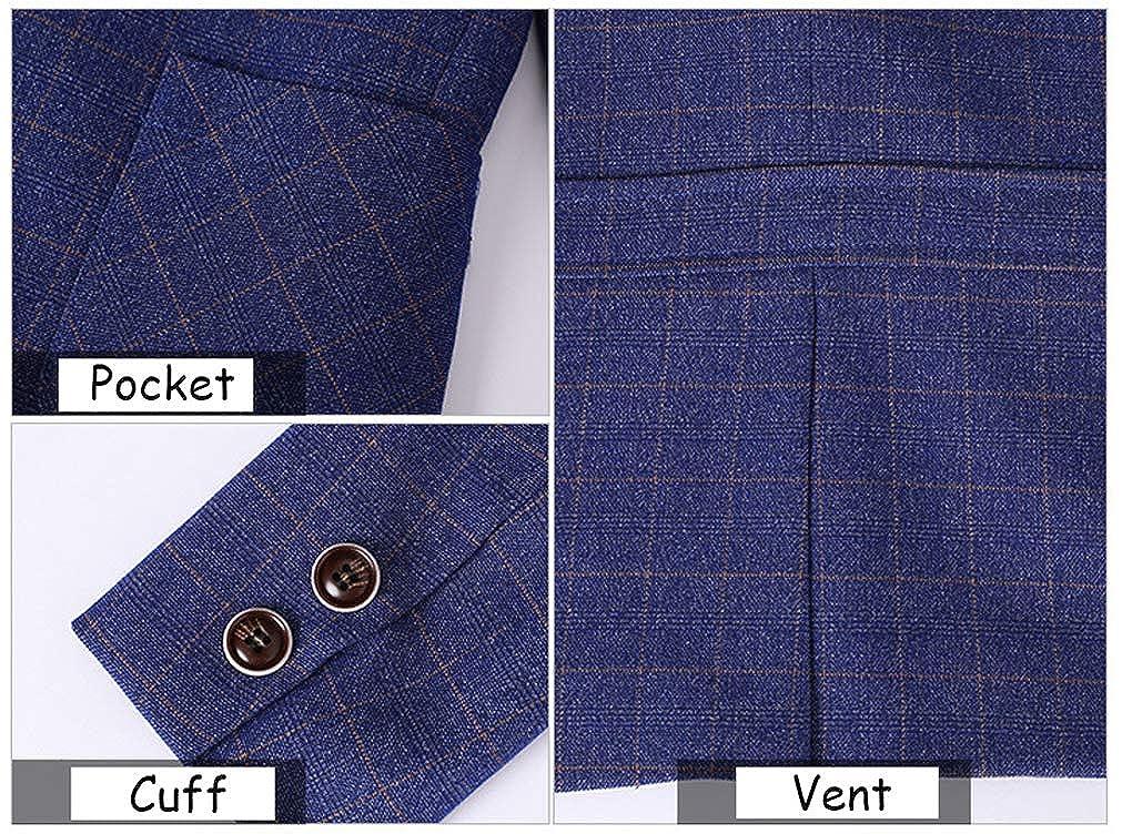 Boys Burgundy Purple Blue Gray 4 Colors Plaid Tuxedo Suits Set Formal Dress Wear