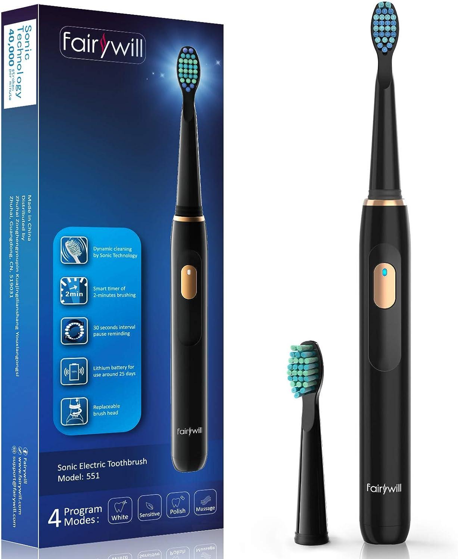 Cepillo eléctrico Fairywill recargable, cepillo sónico para limpieza dental, temporizador interior inteligente, cepillo recargable para adultos y niños (FW-551Black): Amazon.es: Salud y cuidado personal