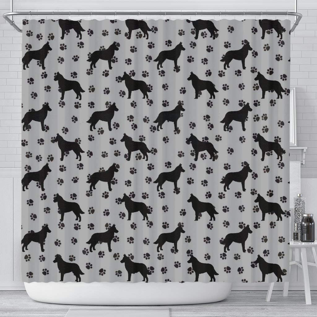 Malinois Dog Paws Pattern Print Shower Curtains by Paws With Attitude