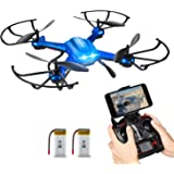 Quadrocopter Potensic Drohne Wifi 2.4GHz 6-Achsen-Gyro 2 MP HD Kamera FPV Monitor Video Live 3D Flip Funktion-blau