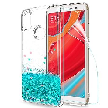 LeYi Funda Xiaomi Redmi S2 / Redmi Y2 Silicona Purpurina Carcasa con HD Protectores de Pantalla,Transparente Cristal Bumper Telefono Gel TPU Fundas ...