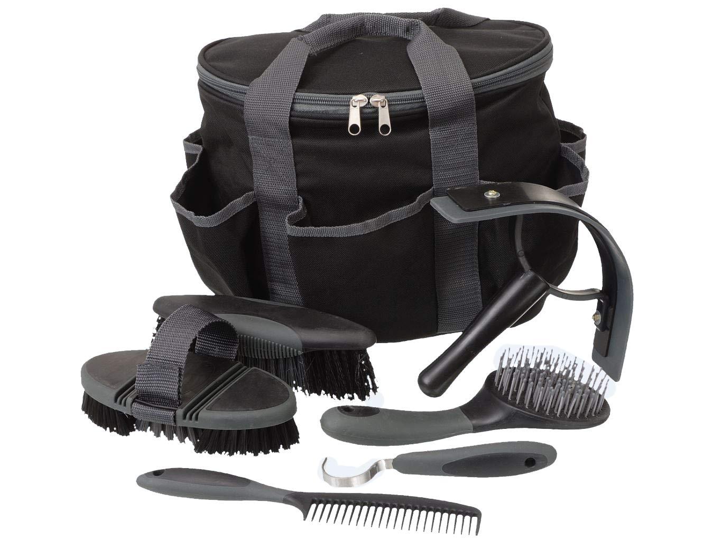 Tough 1 Horse Grooming Kit Set Great Grips Brushes Hoof Pick Sweat Scraper Black