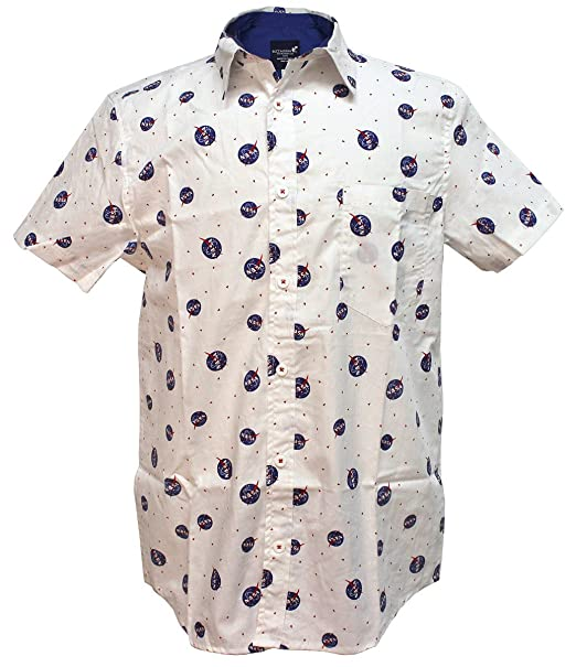 f37d45574 Amazon.com: NASA Logo Men's White Woven Button Up Shirt: Clothing