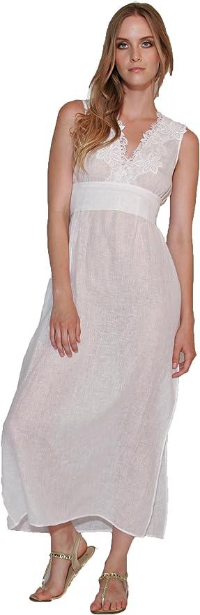 DANA PISARRA Vestido Largo Muselina de algodón con Cintura esrtilo Imperio (tlla S) (IT Mujer 44 S): Amazon.es: Ropa y accesorios