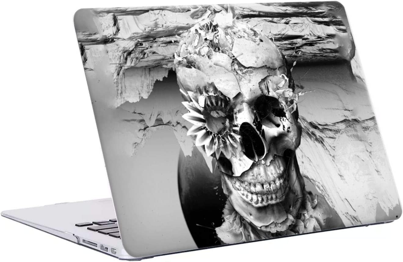 Head Case Designs Officially Licensed Riza Peker Black and White 2 Skulls 6 Hard Crystal Case Cover Compatible with MacBook Air 13
