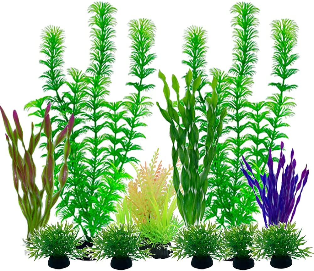 Plastic Aquariums Plants Decorations, Artificial Fish Tank Plants, Set of 11
