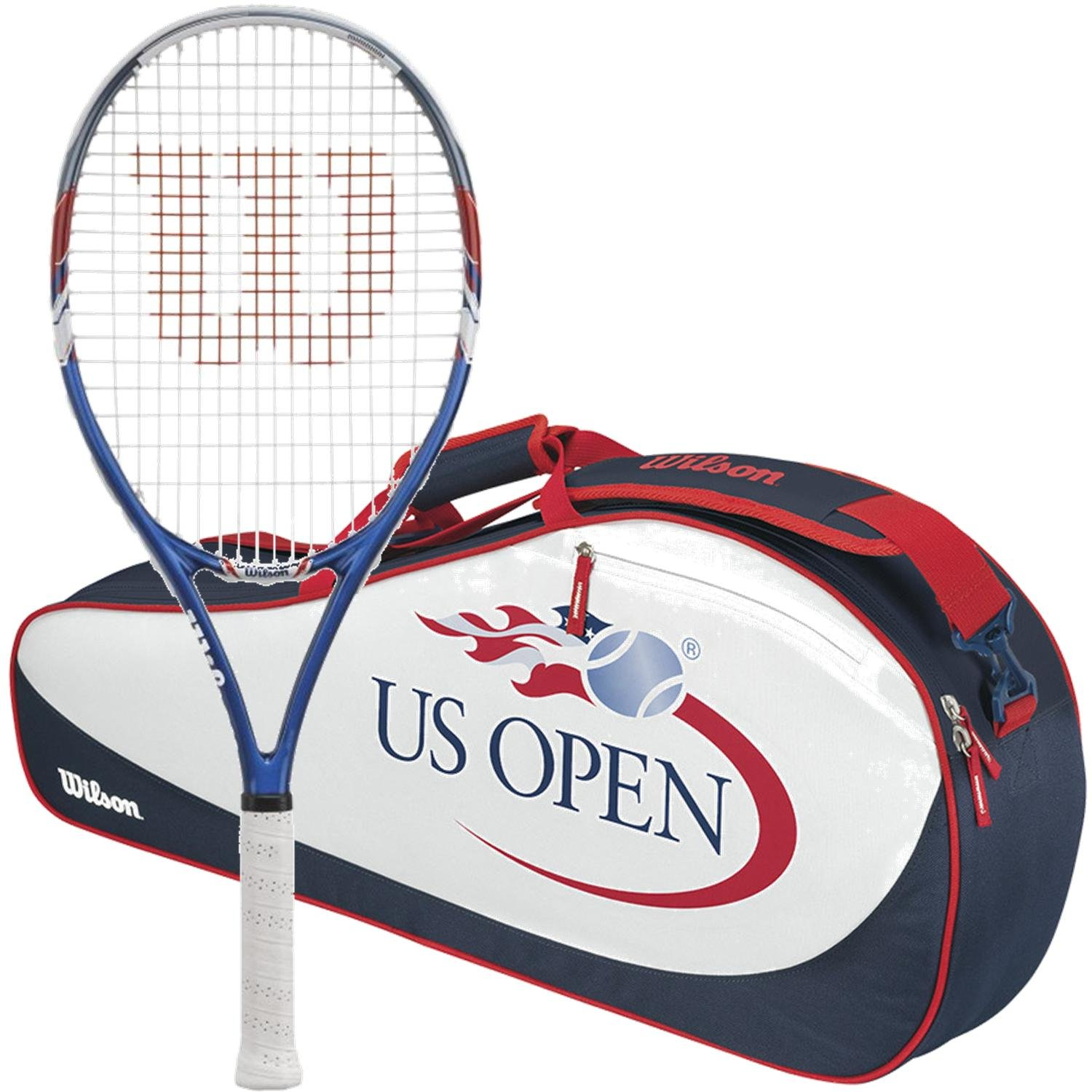 Wilson US Open Pre-Strung Tennis Racquet (Grip Size 4 1/4) bundled with a Limited Edition US Open 3 Pack Tennis Bag