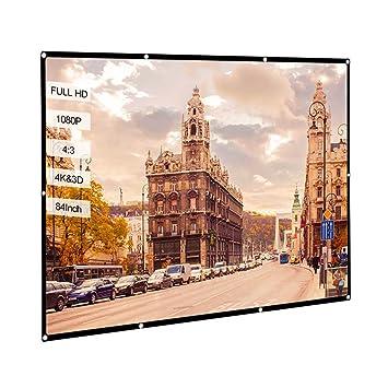 Docooler Pantalla de proyector portátil de 84 HD 4: 3 Blanca ...