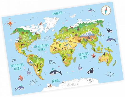 nikima – Niños Mapa del Mundo 3d en 3 tamaños A3/A2/A1 Póster ...