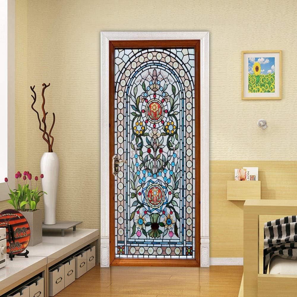 skwff etiqueta de la puerta 3d pegatinas adhesivos DIY Art Mural desmontables 3D vidrieras flor PVC sala de estar cocina baño: Amazon.es: Bricolaje y herramientas