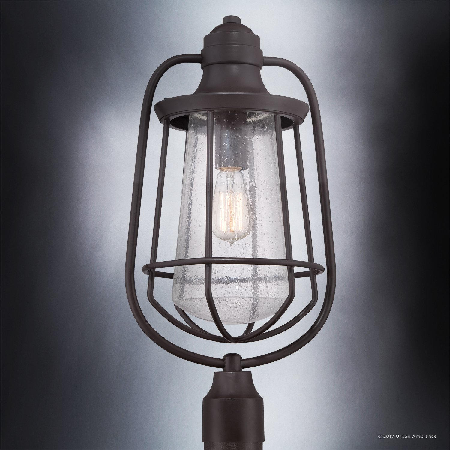 Luxury Vintage Outdoor Post Light, Large Size: 23''H x 11''W, with Nautical Style Elements, Cage Design, Estate Bronze Finish and Seeded Glass, Includes Edison Bulb, UQL1124 by Urban Ambiance by Urban Ambiance (Image #4)