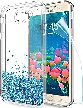 LeYi Compatible con Funda Samsung Galaxy J5 Prime Silicona Purpurina Carcasa con HD Protectores de Pantalla, Transparente Cristal Bumper Telefono Gel Fundas Case Cover para Movil J5 Prime ZX Azul: Amazon.es: Electrónica