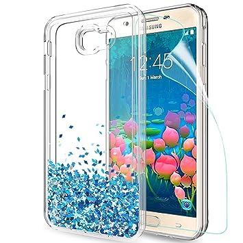 61d7ff35253 LeYi Coque Galaxy J5 Prime Etui avec Film de Protection écran, Fille  Personnalisé Liquide Paillette