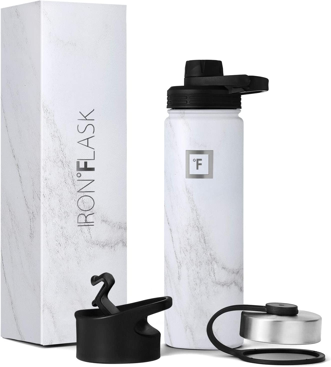 IRON °FLASK Sports Water Bottle - 22oz, 3 Lids (Spout Lid), Vacuum Insulated Stainless Steel, Hot Cold, Modern Double Walled, Simple Thermo Mug, Hydro Metal Canteen (Marble)