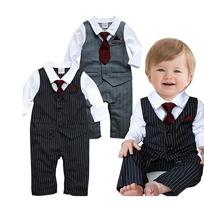 36d8fdc0f EGELEXY Baby Tie Striped Vest Formal Wear Wedding Baby Boy Romper Oneise