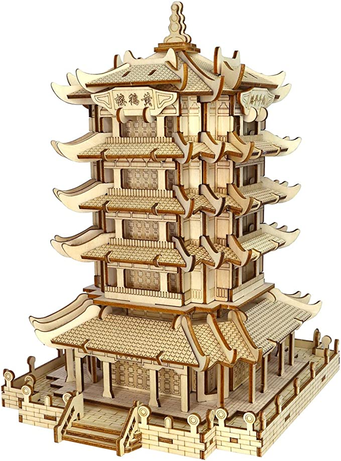 Amazon.com: Yamix 3D Wooden Puzzle DIY Chinese Style Theme Wooden 3D Jigsaw Puzzle Craft Building Kit for Kids and Adults (Yellow Crane Tower ): Toys & Games