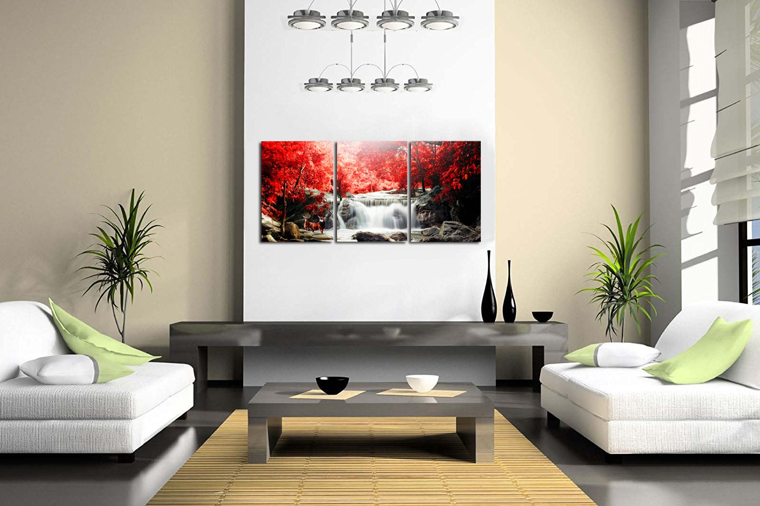 Amazon.com: ModeArt Waterfall Wall Art Artwork Oil Painting For ...