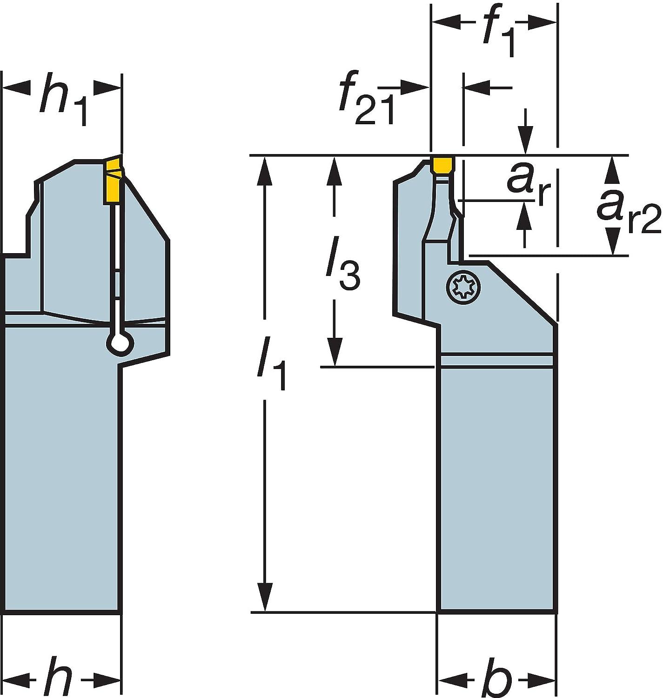 Sandvik Coromant LF151.37-2525-030B40 Steel T-Max Q-Cut Shank Tool for Face Grooving Holder 0.08 Maximum Depth of Cut
