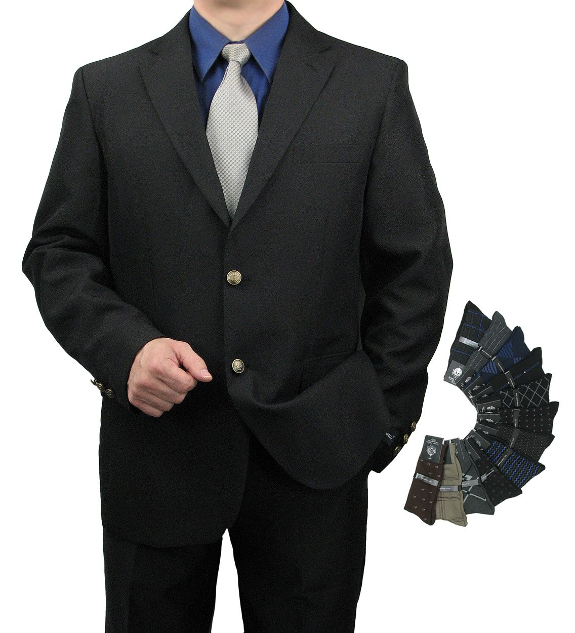 Triple Blessings Men's Classic Fit Single-Breasted 2-Button Blazer Jacket Sports Coat w/One Pair Of Dress Socks (Variety Of Colors) - Black 38R