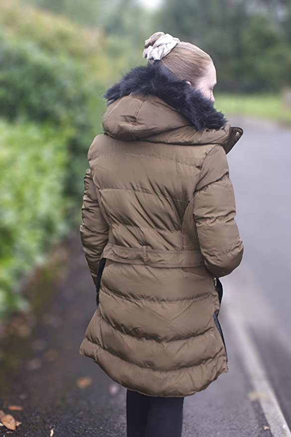 018W17 GLANCY Charcoal Fashion Women/'s Mocha//Brown Hooded Quilted Puffa Coat
