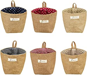 6 Pcs Mini Hanging Storage Bag, Cotton Linen Small Wall Hanging Storage Bags, Foldable Wall Hanging Basket Family Organizer Box for Home Office Wall Closet Organizing and Decorating