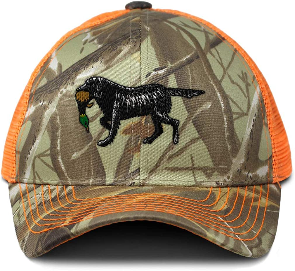 Custom Camo Mesh Trucker Hat Duck Hunter Dog Embroidery Cotton One Size