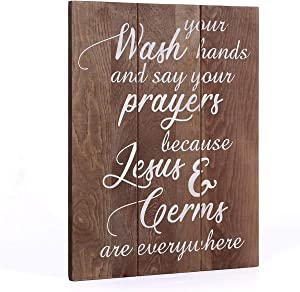 """Lynicon Wash Your Hands and Say Your Prayers Sign Farmhouse Bathroom Decoration Signs, 11"""" x 14"""" Rustic Home Decor Bathroom Wall Art Kitchen Art with Funny Quotes"""