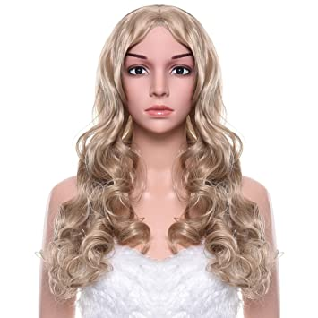 Uarter Blonde Wig Long Curly Wavy Hair With Free Wig Cap Wig Comb And Clips