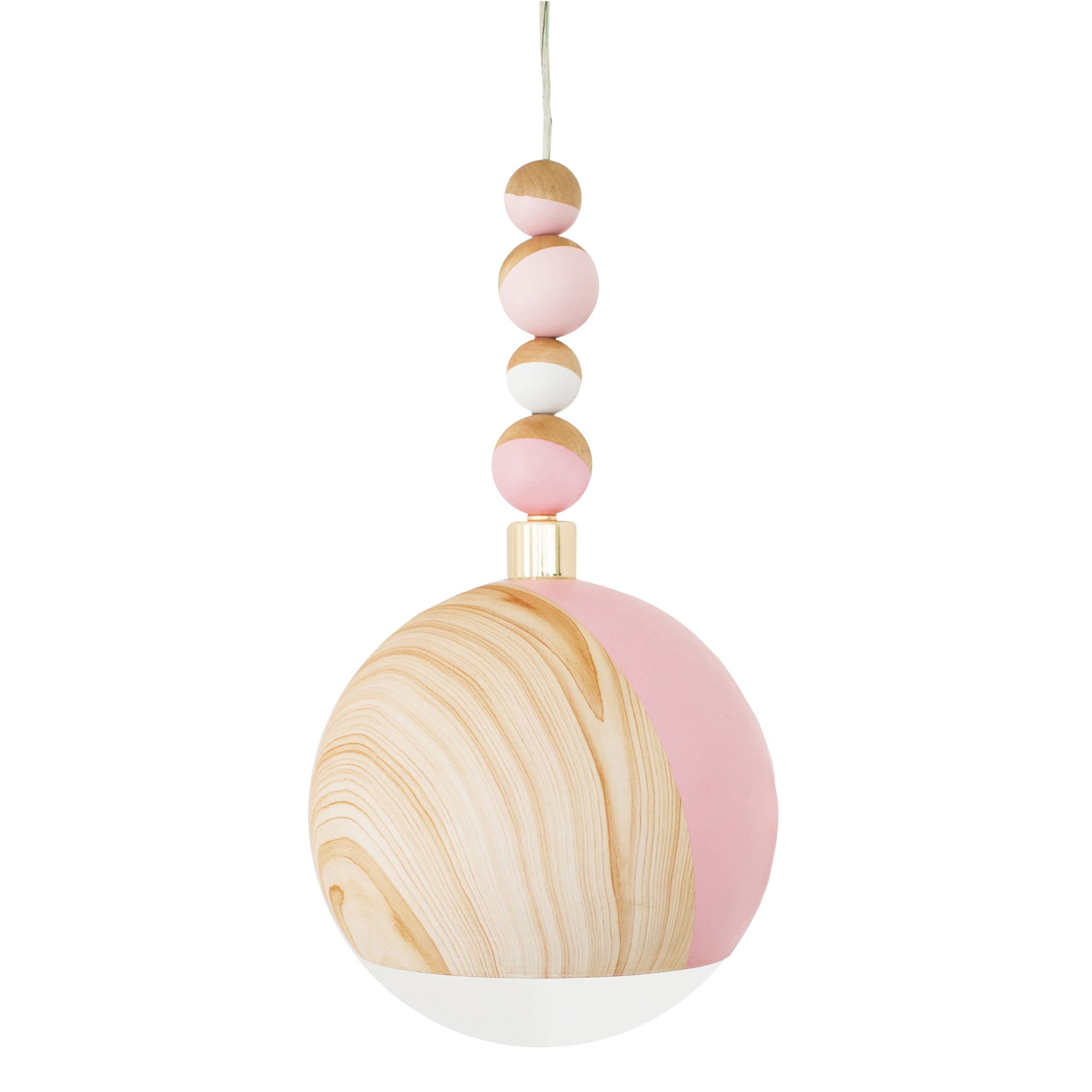 Petunia Pickle Bottom Dreaming in Dax Hanging Ceiling Pendant Light, Pink/White/Brown by Petunia Pickle Bottom